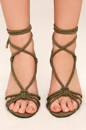 Ophelia Olive Suede Lace-Up Heels 3