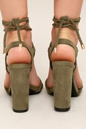 Ophelia Olive Suede Lace-Up Heels 5