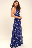 All I Need Royal Blue Floral Print Lace-Up Maxi Dress 2