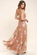 All Mine Rusty Rose Floral Print High-Low Wrap Dress 3