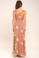 All Mine Rusty Rose Floral Print High-Low Wrap Dress 4