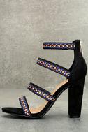 Mariko Black Suede Embroidered Caged Heels 1