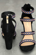 Mariko Black Suede Embroidered Caged Heels 3