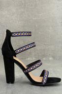 Mariko Black Suede Embroidered Caged Heels 4