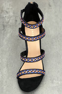 Mariko Black Suede Embroidered Caged Heels 5