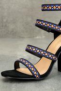 Mariko Black Suede Embroidered Caged Heels 6