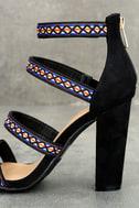 Mariko Black Suede Embroidered Caged Heels 7