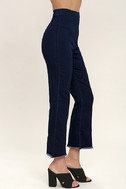 Michigan Avenue Dark Wash High-Waisted Cropped Flare Jeans 3