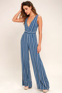Montauk Yacht Club Blue and White Striped Jumpsuit 1