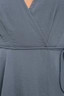 Modern Gal Slate Blue Wrap Top 6