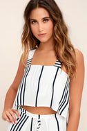 Faithfull the Brand Agios Black and White Striped Crop Top 1