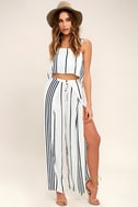 Faithfull the Brand Agios Black and White Striped Crop Top 2