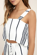 Faithfull the Brand Agios Black and White Striped Crop Top 5