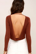 Hype-Worthy Washed Burgundy Backless Bodysuit 5