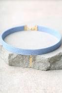 Denim Days Blue and Gold Denim Choker Necklace 2