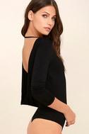 Hype-Worthy Black Backless Bodysuit 4