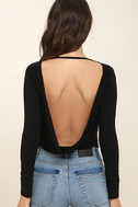 Hype-Worthy Black Backless Bodysuit 5