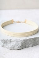Get Out of Town Cream Layered Choker Necklace 2
