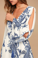Boat Life Blue and White Print Midi Dress 5
