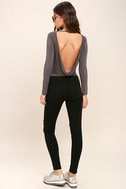 Hype-Worthy Dark Grey Backless Bodysuit 2