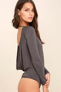 Hype-Worthy Dark Grey Backless Bodysuit 4