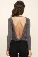 Hype-Worthy Dark Grey Backless Bodysuit 5