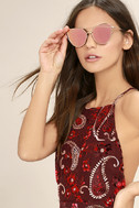 Miss Blue Sky Rose Gold and Pink Mirrored Sunglasses 1