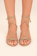 Ophelia Nude Suede Lace-Up Heels 2