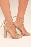 Ophelia Nude Suede Lace-Up Heels 3