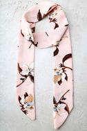 Merrily Merrily Blush Pink Floral Print Skinny Scarf 2