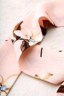 Merrily Merrily Blush Pink Floral Print Skinny Scarf 3