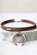 Rhythmic Gold and Brown Choker Necklace 2