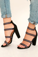 Mariko Black Suede Embroidered Caged Heels 2