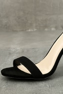 Felora Black Suede Embroidered Ankle Strap Heels 6