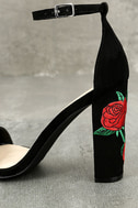 Felora Black Suede Embroidered Ankle Strap Heels 7