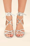 Oni Silver Lace-Up Heels 2