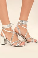 Oni Silver Lace-Up Heels 3