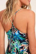 Samana Bay Navy Blue Floral Print Dress 5