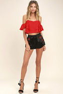 Rose Buds for Life Black Embroidered Satin Shorts 3
