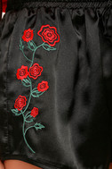 Rose Buds for Life Black Embroidered Satin Shorts 6