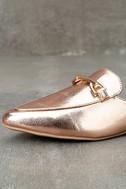 Antonia Rose Gold Faux Fur Loafer Slides 6