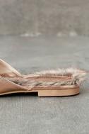Antonia Rose Gold Faux Fur Loafer Slides 7
