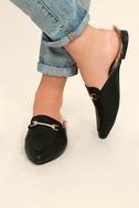 Antonia Black Faux Fur Loafer Slides 2