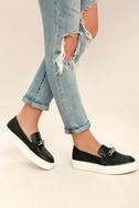 J Slides Piper Black Leather Flatform Loafers 2