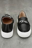 J Slides Piper Black Leather Flatform Loafers 3