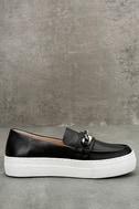 J Slides Piper Black Leather Flatform Loafers 4