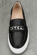 J Slides Piper Black Leather Flatform Loafers 5