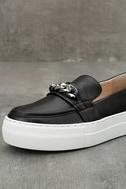 J Slides Piper Black Leather Flatform Loafers 6