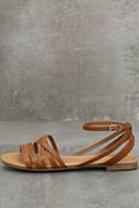 Zoila Tan Ankle Strap Flat Sandals 2