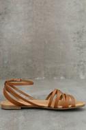 Zoila Tan Ankle Strap Flat Sandals 4